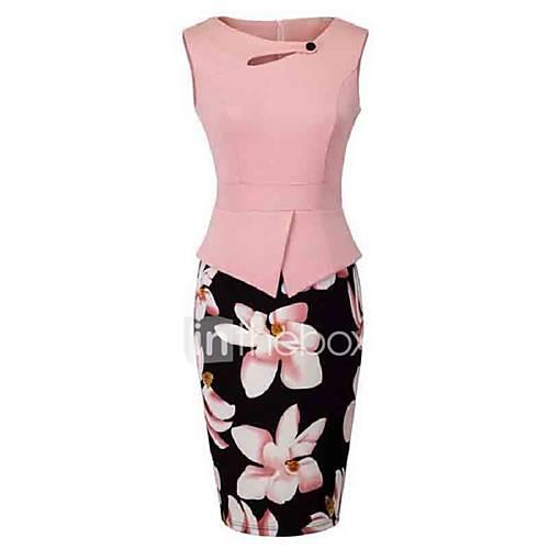 vrouwen-casual-dagelijks-grote-maten-vintage-schede-jurk-bloemen-ronde-hals-tot-de-knie-mouwloos-roze-rood-geel-polyester-zomer