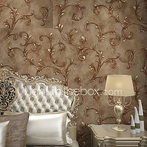 European Vintage Leaf Embossed Textured Wallpaper 3D Wall