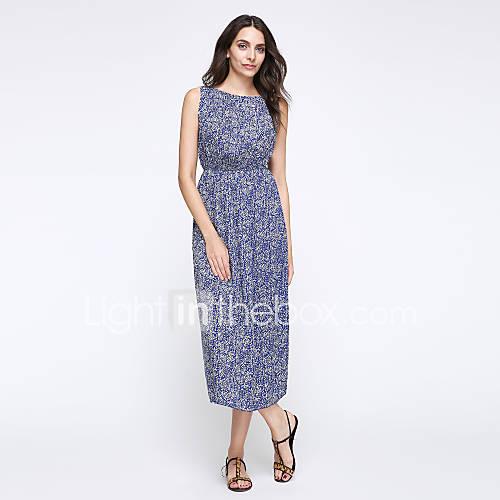 dames-casual-dagelijks-vakantie-grote-maten-boho-chiffon-wijd-uitlopend-jurk-print-ronde-hals-midi-mouwloos-blauw-polyester-zomer