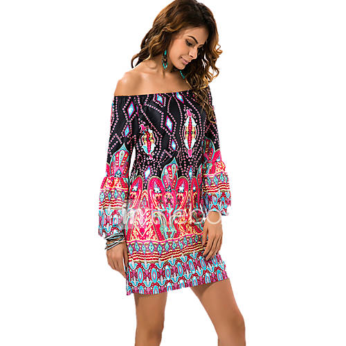 vrouwen-strand-grote-maten-vintage-boho-ruimvallend-jurk-print-boothals-boven-de-knie-lange-mouw-blauw-roze-zwart-groen-oranje