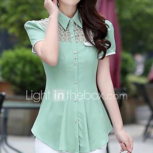 vrouwen-eenvoudig-street-chic-zomer-overhemd-casual-dagelijks-effen-overhemdkraag-korte-mouw-wit-groen-paars-dun