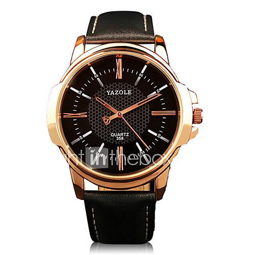 358 YAZOLE Fashion Men's Business Dress Watch Leather ...