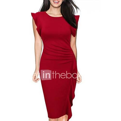 Mujer Vaina Vestido Casual/Diario Simple / Chic de Calle,Un Color Escote Redondo Hasta la Rodilla Sin Mangas Azul / Rojo / Negro Poliéster Descuento en Lightinthebox