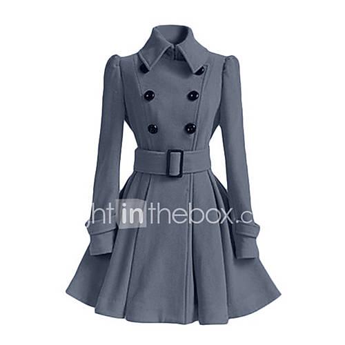vrouwen-vintage-winter-jas-casual-dagelijks-peter-pan-kraag-lange-mouw-rood-zwart-effen-medium-polyester