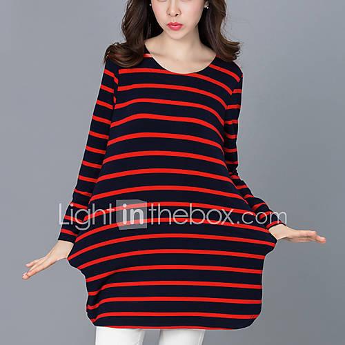 vrouwen-street-chic-herfst-t-shirt-casual-dagelijks-gestreept-ronde-hals-lange-mouw-rood-zwart-groen-katoen-medium
