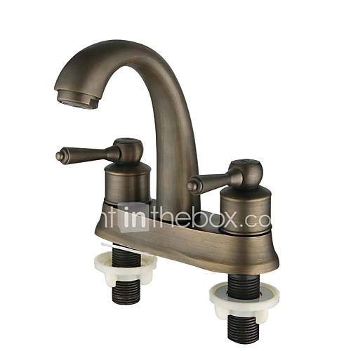 Copper Dual Handle Thermostatic Faucet Bath Brass: Antique Deck Mounted Thermostatic With Ceramic Valve Two