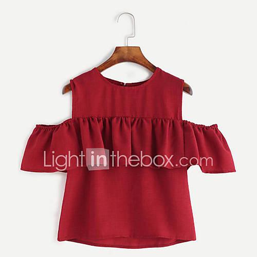 Vrouwen Street chic Zomer T-shirt,Casual/Dagelijks Effen / Print Ronde hals Korte mouw Rood / Zwart / Geel Linnen Medium