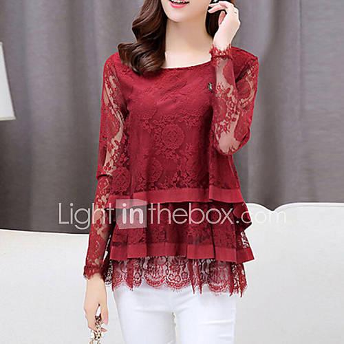 vrouwen-eenvoudig-herfst-t-shirt-casual-dagelijks-effen-ronde-hals-lange-mouw-rood-zwart-nylon-medium