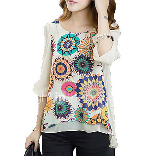 vrouwen-grote-maten-eenvoudig-blouse-casual-dagelijks-bloemen-ronde-hals-korte-mouw-blauw-wit-rayon-medium