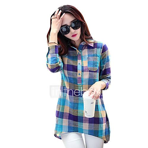 dames-eenvoudig-lente-herfst-t-shirt-casual-dagelijks-ruitjes-overhemdkraag-lange-mouw-blauw-polyester-medium