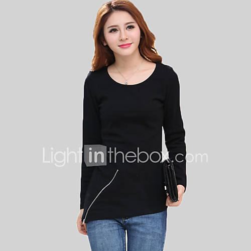 vrouwen-eenvoudig-herfst-t-shirt-casual-dagelijks-effen-ronde-hals-lange-mouw-zwart-geel-katoen-medium