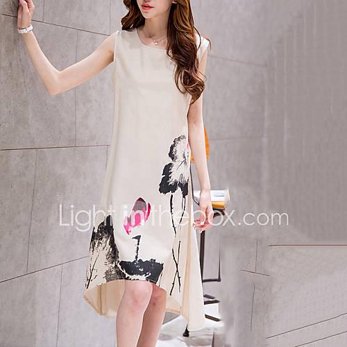ronde-hals-katoen-linnen-bloem-midi-vrouwen-jurk-mouwloos