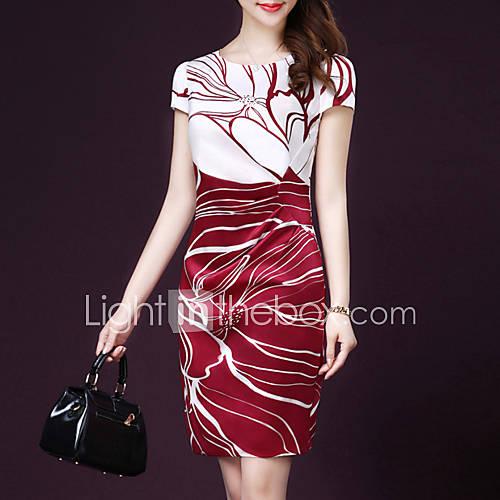 Mujer Vestido Noche Tallas Grandes Simple,Estampado Escote Redondo Sobre la rodilla Manga Corta Seda Verano Tiro Medio Microelástico