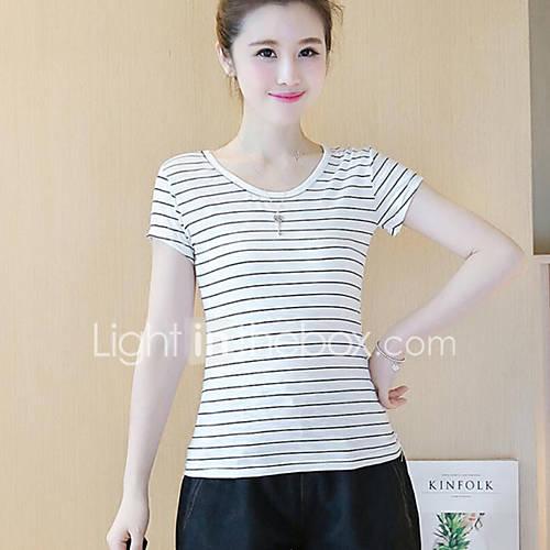Vrouwen Eenvoudig Zomer T-shirt,Casual/Dagelijks Gestreept Ronde hals Korte mouw Wit Polyester Ondoorzichtig