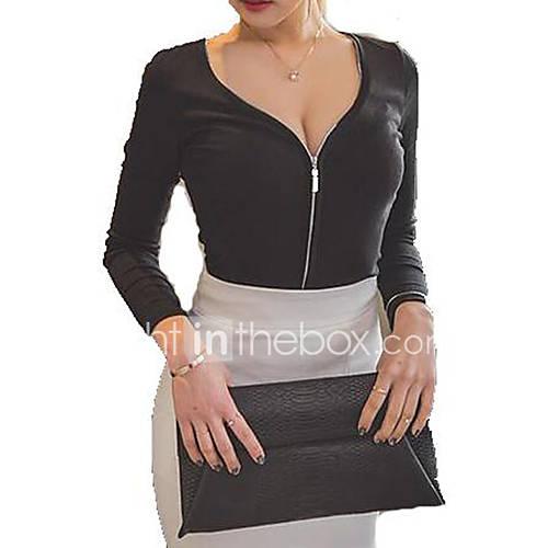 vrouwen-sexy-street-chic-herfst-t-shirt-casual-dagelijks-effen-diepe-v-hals-lange-mouw-zwart-katoen-dun-medium