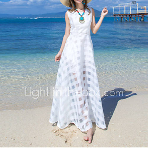 vrouwen-boho-wijd-uitlopend-effen-jurk-maxi-ronde-hals-polyester-nylon