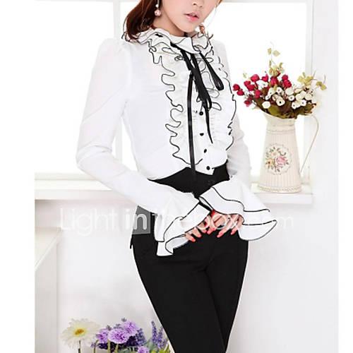 vrouwen-eenvoudig-lente-herfst-overhemd-casual-dagelijks-effen-rucheskraag-lange-mouw-wit-polyester-ondoorzichtig-dun