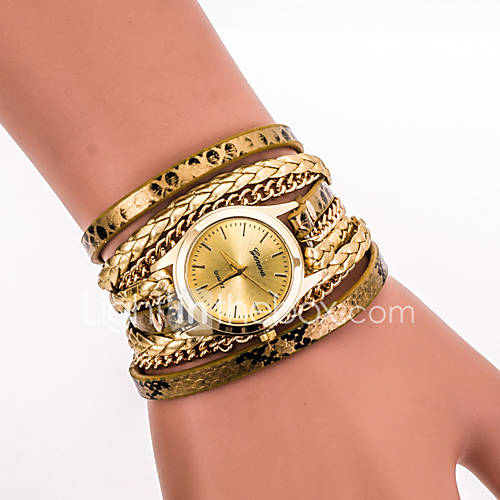 Mujer Reloj de Pulsera Cuarzo Colorido PU Banda Cosecha / Leopardo / Bohemio / Cool / CasualNegro / Blanco / Azul / Plata / Rojo / Dorado Descuento en Lightinthebox