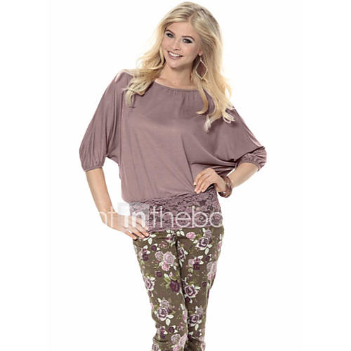 vrouwen-eenvoudig-zomer-t-shirt-casual-dagelijks-effen-ronde-hals-korte-mouw-bruin-grijs-katoen-ondoorzichtig-dun