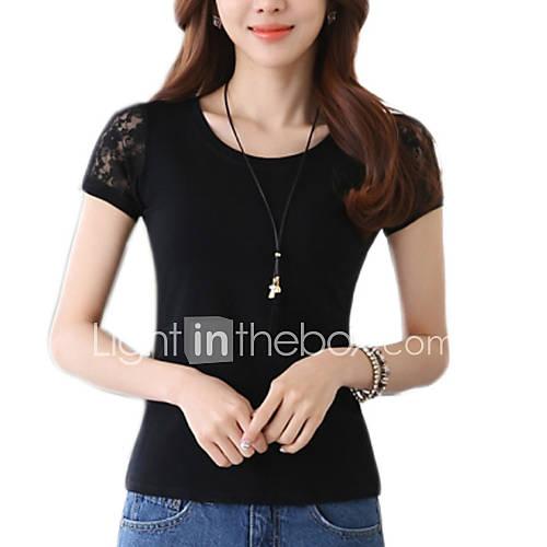 Vrouwen Eenvoudig / Street chic Zomer T-shirt,Casual/Dagelijks Effen Ronde hals Korte mouw Wit / Zwart Katoen Dun