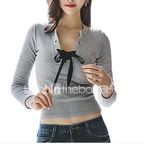 Vrouwen Sexy Herfst T-shirt,Casual/Dagelijks Effen V-hals Lange mouw Grijs Katoen Medium