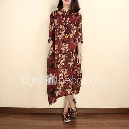 dames-casual-dagelijks-chinoiserie-ruimvallend-jurk-bloemen-opstaand-midi-halflange-mouw-blauw-rood-linnen-zomer-medium-taille