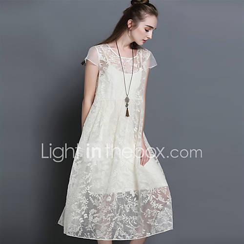 dames-casual-dagelijks-eenvoudig-ruimvallend-jurk-effen-ronde-hals-midi-korte-mouw-blauw-wit-polyester-zomer-medium-taille-inelastisch