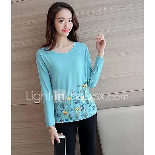 dames-eenvoudig-herfst-t-shirt-casual-dagelijks-dierenprint-ronde-hals-lange-mouw-meerkleurig-katoen-medium