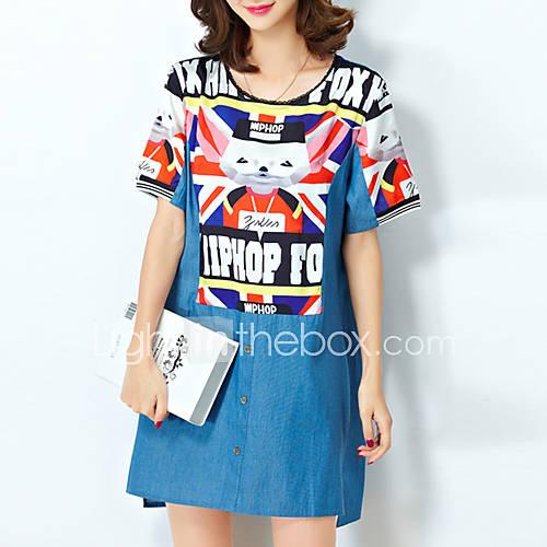 vrouwen-casual-dagelijks-grote-maten-schattig-street-chic-ruimvallend-jurk-print-ronde-hals-mini-korte-mouw-blauw-katoen-polyester