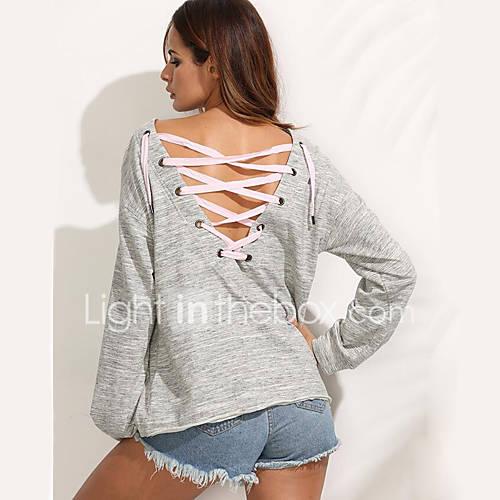 vrouwen-street-chic-lente-herfst-t-shirt-casual-dagelijks-effen-ronde-hals-lange-mouw-grijs-katoen-medium