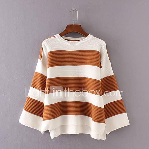 dames-casual-dagelijks-eenvoudig-kort-pullover-gestreept-roze-zwart-grijs-geel-ronde-hals-lange-mouw-katoen-winter-medium-micro-elastisch