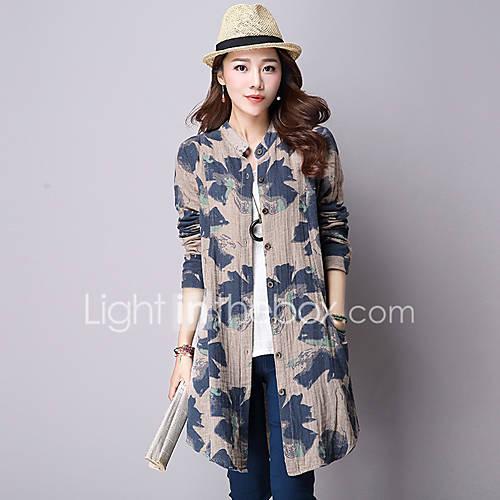vrouwen-street-chic-lente-herfst-overhemd-uitgaan-casual-dagelijks-print-strakke-ronde-hals-lange-mouw-blauw-roze-katoen-linnen