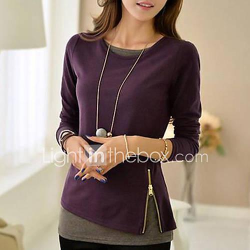 vrouwen-eenvoudig-lente-herfst-t-shirt-casual-dagelijks-effen-ronde-hals-lange-mouw-zwart-oranje-paars-katoen-medium