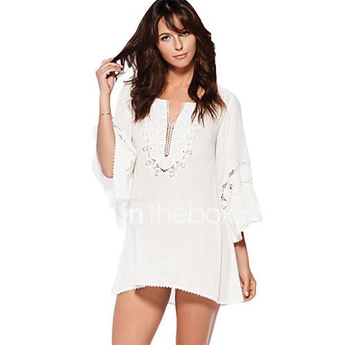 dames-strand-vakantie-sexy-ruimvallend-jurk-effen-v-hals-mini-driekwart-mouw-blauw-wit-zwart-polyester-spandex-zomer-medium-taille