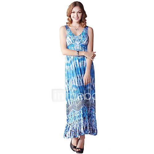 dames-casual-dagelijks-eenvoudig-ruimvallend-jurk-print-v-hals-maxi-mouwloos-blauw-polyester-spandex-zomer-hoge-taille-micro-elastisch