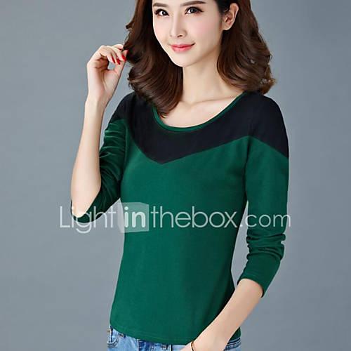 Dames Eenvoudig Herfst T-shirt,Casual/Dagelijks Kleurenblok Ronde hals Lange mouw Groen / Paars Katoen Ondoorzichtig