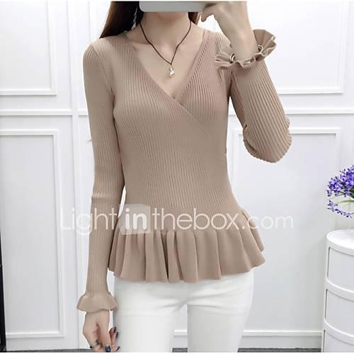 dames-casual-dagelijks-eenvoudig-normaal-pullover-effen-rood-wit-zwart-bruin-groen-v-hals-lange-mouw-polyester-herfst-winter-medium