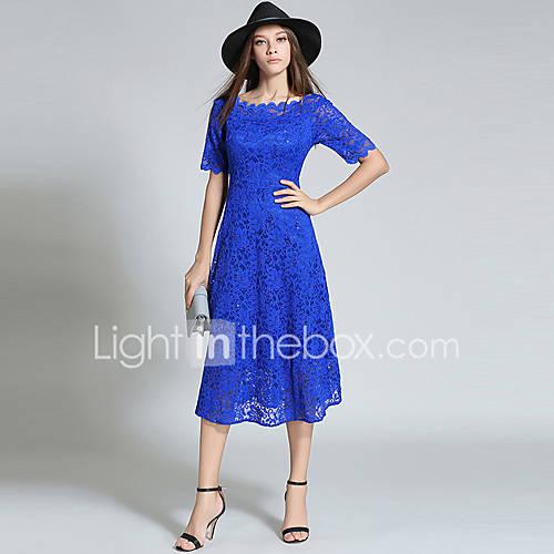 dames-uitgaan-boho-verfijnd-kant-jurk-effen-ronde-hals-midi-halflange-mouw-blauw-polyester-herfst-medium-taille-inelastisch-medium