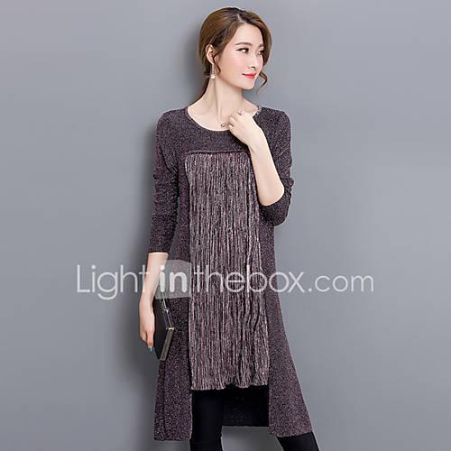 vrouwen-street-chic-herfst-t-shirt-uitgaan-patchwork-ronde-hals-lange-mouw-zwart-paars-katoen-nylon-medium