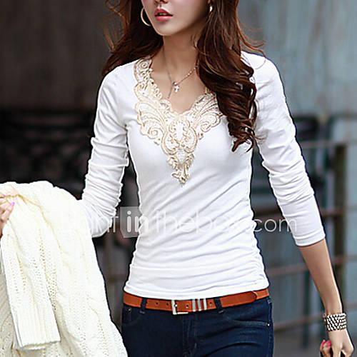 vrouwen-eenvoudig-street-chic-alle-seizoenen-t-shirt-casual-dagelijks-effen-ronde-hals-lange-mouw-wit-zwart-katoen-medium