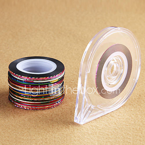 Nail Art Tape Strips: 30 Rolls 1 Case Mixed Colors Rolls Striping Tape Line DIY