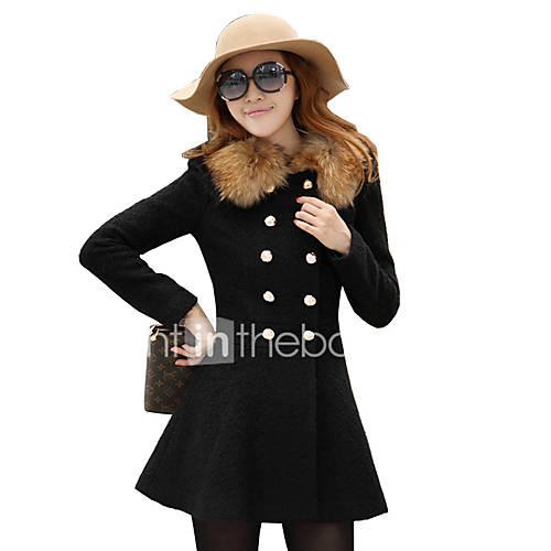 vrouwen-vintage-winter-jas-casual-dagelijks-assymmetrisch-lange-mouw-rood-zwart-effen-medium-polyester