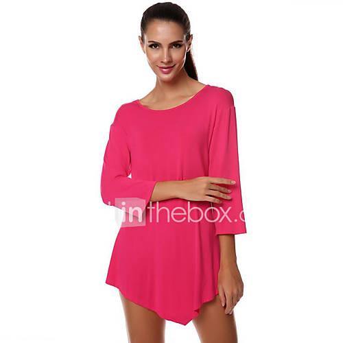 Vrouwen Street chic Herfst T-shirt,Uitgaan Effen Ronde hals Driekwart mouw Rood / Zwart / Grijs Katoen Medium