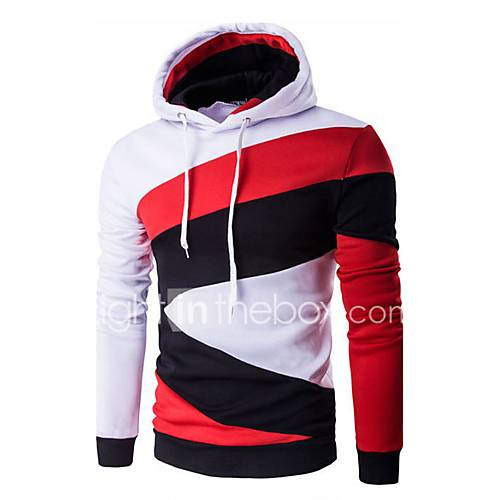 Men's Patchwork / Color Block Casual / Sport HoodieCotton Long Sleeve Black / Blue / White / Gray