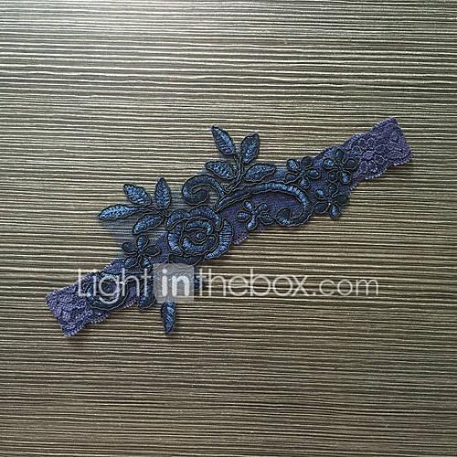 Liga Satén Elástico / Encaje Flor Azul Lightinthebox