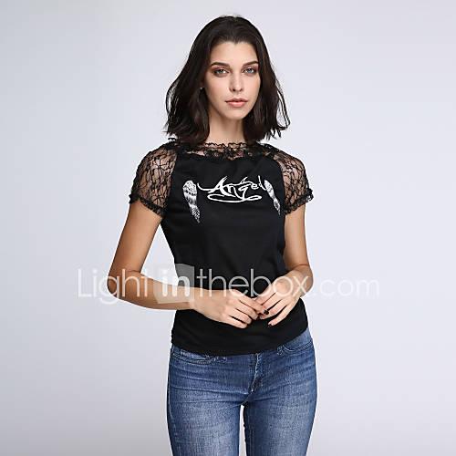 vrouwen-sexy-lente-t-shirt-print-ronde-hals-korte-mouw-wit-zwart-katoen-rayon-medium
