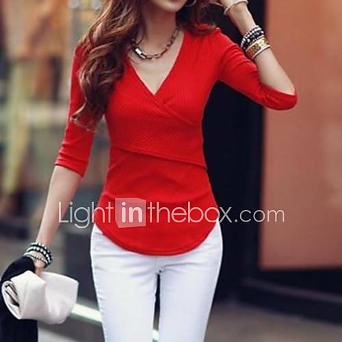 vrouwen-eenvoudig-street-chic-herfst-t-shirt-casual-dagelijks-effen-v-hals-lange-mouw-rood-wit-zwart-overige-dik