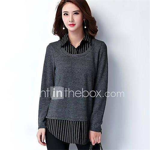 dames-uitgaan-casual-dagelijks-grote-maten-eenvoudig-normaal-pullover-gestreept-kleurenblok-grijs-overhemdkraag-lange-mouw-polyester-lente