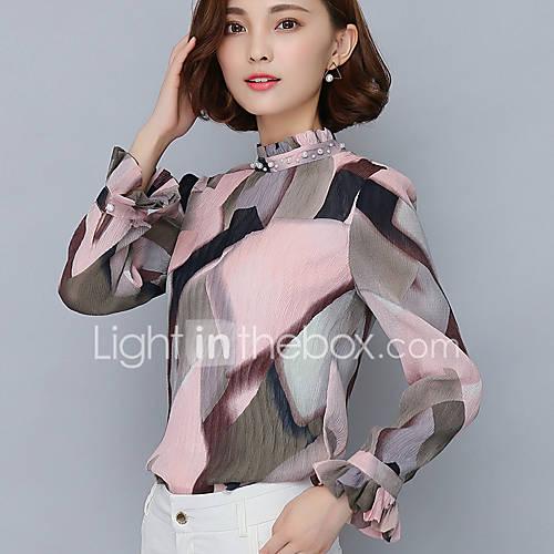 vrouwen-eenvoudig-schattig-lente-herfst-blouse-uitgaan-casual-dagelijks-print-kleurenblok-opstaand-lange-mouw-roze-polyester