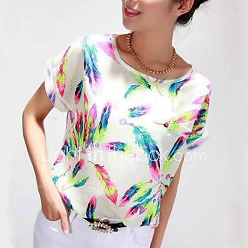 dames-eenvoudig-alle-seizoenen-blouse-casual-dagelijks-grote-maten-print-ronde-hals-korte-mouw-meerkleurig-polyester-dun